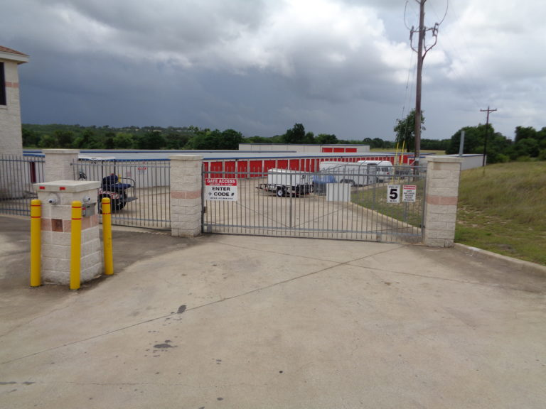 Secured front gate at storage facility.