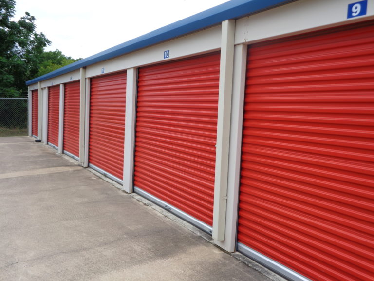 Roll up doors of drive-up units.