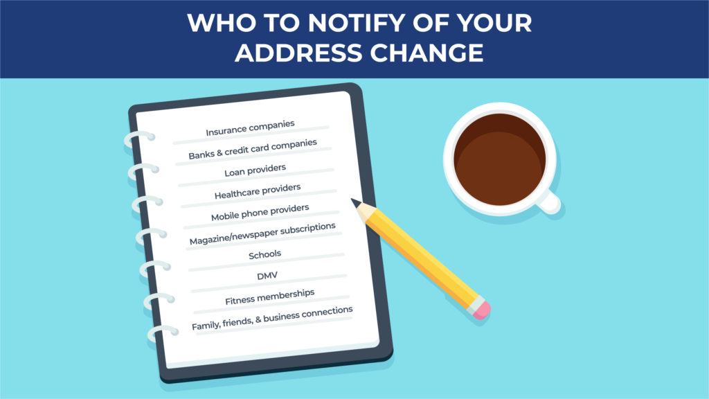 an illustration showing a checklist of everyone you need to notify of your address change when you move